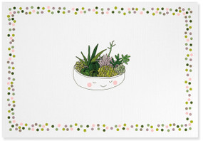 Brighten someone's day with a personal handwritten note using these fanciful note cards! Premium boxed stationery set comes with 14 note cards and 15 matching envelopes. Quality card stock takes pen beautifully. Card interiors are blank for your personal message. Cards measure 5 inches wide by 3-1/2 inches high. Design features a happy planter full of fresh green succulents against a white matte background, surrounded by a border of polka dots in pinks, purples, blues, and greens. Gloss highlights add eye-catching shine. Exterior linen finish. Matching light green envelopes. Stationery set comes in a coordinating box with a clear acetate lid. Card set makes a welcome gift, too!