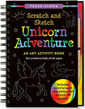 Join a girl named Polly and her unicorn friend on a magical journey to an enchanted castle! Use your stylus pen like a magic wand, tracing the unicorn, friends, and all the wonders along the way, and discover the secret colors -- silver, gold, and rainbow -- beneath the black-coated pages! This is a Trace-Along title! This fun and easy art activity book allows budding artists to trace the white outlines on black-coated scratch art pages. 20 black-coated scratch-off art board pages: 10 have gold and silver glitter beneath, and 10 have multicolored swirls beneath. 20 drawings and descriptions of unicorns and friends. 20 extra pages for doodling. Includes wooden stylus for drawing. For children ages 5 and up. 6-3/8'' wide x 8-1/2'' high Non-toxic. Potential eye irritant. Avoid inhaling particles of scratch coating. Not for children under 5 years. Meets all applicable safety standards. 64 pages