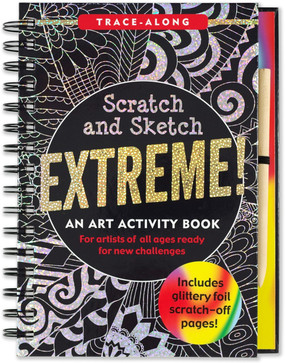 Young artists will love exploring the entertaining world of Scratch and Sketch with this challenging compilation of 20 cool drawings and design projects! As you trace intricate artwork on the black-coated pages, a wolf, mandala, night sky, unicorn, and so much more emerge in sparkling foils of silver and green, or colorful swirls! Scratch away the black coating on each page with the stylus included, and see your puzzle solutions come to light in glittery sparkles and colorful swirls! Scratch book contains 10 black-coated silver or green glitter pages and 10 black-coated colorful swirl pages 20 intricate images to color. This is a Trace-Along title! Young artists can simply follow the white lines with the wooden stylus to create colorful pictures. Includes 20 extra paper pages for your own doodles and drawings. Book comes with a wooden stylus for scratching away the black coating. Art activity book measures 6-3/8 inches wide by 8-1/2 inches high. Ages 5 and up. 64 pages
