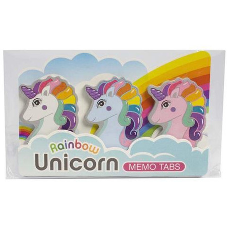"""Bring some magic to your to-do-list with our Rainbow Unicorn Memo Tab Set! A colorful gift for anyone that needs to need a little magic to organize their mess!  Rainbow Unicorn Memo Tab Set Features:  Material: Paper   Size:  4-3/8""""L x 0.25""""W x 3""""H"""