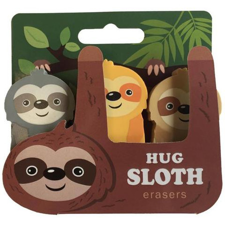 "These sloths erasers are nothing short of adorable. A pencil-pouch necessity, their charm is sure to bring a smile to any avid writer.   Material: TPR Size: 3.5""L x 0.75"" W x 3.25""H (pkg)"