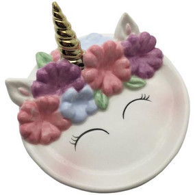 "Don't trust us - take the unicorn's word for it - you are magical! Keep all your trinkets safe on this adorable unicorn dish. A great piece to hold jewelry, coins and other small trinkets.   Unicorn Face Trinket Dish features: Material: Ceramic Size: 3"" Dia.x 1""H"