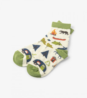 Cool socks for cool kids. These cozy crew socks featuring adorable prints and contrast heels will become instant hits with your little ones. Features: Comfy crew socks with fun designs Contrast heel and toe Exclusive Little Blue House print Look for matching sleepwear Machine washable 55% cotton, 44% nylon, 1% spandex. Size: 4-7 years