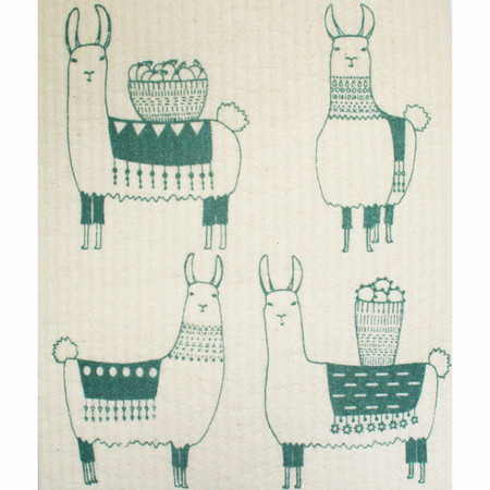 Made from cotton and plant-based cellulose fibres, these 100% natural and compostable cloths are an established must-have in Scandinavia. They offer a sustainable alternative to sponges, dishcloths and paper towels and become soft and pliable when wet for easy cleanup. Three lovely llamas bedecked in woven blankets and beaded necklaces trek through the Peruvian mountains with cargo atop their backs. 70% cellulose 30% cotton W6.5 x L8 inch Made in Sweden