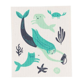 Made from cotton and plant-based cellulose fibres, these 100% natural and compostable cloths are an established must-have in Scandinavia. They offer a sustainable alternative to sponges, dishcloths and paper towels and become soft and pliable when wet for easy cleanup. An enchanting mermaid swims with playful mercats and merdogs in a swirl of aquatic greens and blues. 70% cellulose 30% cotton W6.5 x L8 inch Made in Sweden