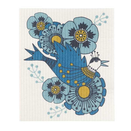 Made from cotton and plant-based cellulose fibers, these 100% natural and compostable cloths are an established must-have in Scandinavia. They offer a sustainable alternative to sponges, dishcloths and paper towels and become soft and pliable when wet for easy cleanup. A regal bird enrobed in blue painterly textures is nestled in a sea of oversize blooms and leaves.  cellulose W6.5 x L8 inch Made in Sweden