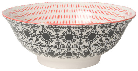 """Eye-catching porcelain bowls with contrasting patterns are stunning, either as a collection or as accent pieces. Stamped designs have a wonderful texture and hints of color circling hand-painted rims. Porcelain Size:  8"""" x 3"""" 30 oz"""