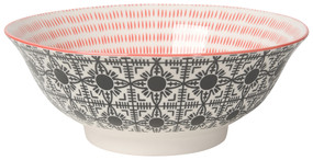 "Eye-catching porcelain bowls with contrasting patterns are stunning, either as a collection or as accent pieces. Stamped designs have a wonderful texture and hints of color circling hand-painted rims. Porcelain Size:  8"" x 3"" 30 oz"