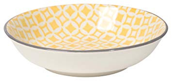This eye-catching porcelain bowl with contrasting patterns is stunning, either as a collection or accent piece. The stamped design provides a wonderful texture, while the dip of color brings out its bold hues.   Porcelain Size: 3.75 x H1 inch 2 oz Made in China