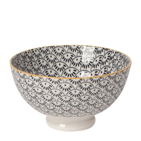 Eye-catching porcelain bowls with contrasting patterns are stunning, either as a collection or as accent pieces. Stamped designs have a wonderful texture and hints of color circling hand-painted rims.  Porcelain Size:  4 x H 2.5 inch 10oz Made in China