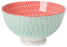 Eye-catching porcelain bowls with contrasting patterns are stunning, either as a collection or as accent pieces. Stamped designs have a wonderful texture and hints of color circling hand-painted rims.  Porcelain Size:   4.5 x H 2.5 inch 10 oz Made in China