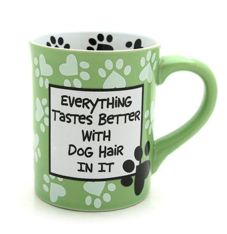 everything tastes better with dog hair in it ceramic mug green pawprints
