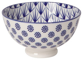 Eye-catching porcelain bowls with contrasting patterns are stunning, either as a collection or as accent pieces. Stamped designs have a wonderful texture and hints of color circling hand-painted rims.  Porcelain Size:   4 x H 2.5 inch 10 oz Made in China