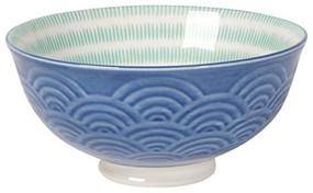 This eye-catching porcelain bowl with contrasting patterns is stunning, either as a collection or as an accent piece. The stamped design provides a wonderful texture, while the dip of color brings out its bold hues.   Porcelain Size: 5 x H 2.5 inch 10 oz Made in China
