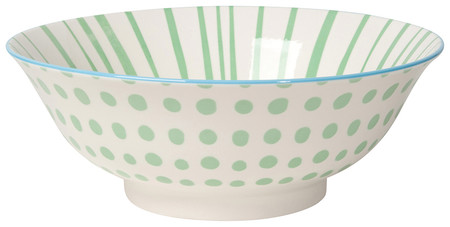 """Eye-catching porcelain bowls with contrasting patterns are stunning, either as a collection or as accent pieces. Stamped designs have a wonderful texture and hints of color circling hand-painted rims.  Porcelain Size:  8"""" x 3"""" 30 oz Made in China"""