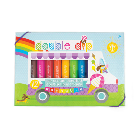 Draw, color, create and doodle with incredible, double-ended markers that smell like delicious ice cream. Double Dip Ice Cream Scented Markers are a cute set of creatively colorful markers with thick barrels that are just perfect for little hands. Choose between thin marker strokes on one end or a chiseled tip on the other that makes amazingly broad and colorful lines. This marker set comes with 12 colored markers each with unique ice cream scents such as watermelon popsicle pink, apple gelato green, blueberry snow cone and grape popsicle purple. And Double Dips have a special bonus as they are washable in case of any coloring accidents. Double-Sided Scented Markers Set of 12 Colored Markers Each with a Unique Ice Cream Scent One Side is Chiseled and the Other is Pointed Easy to Hold Markers with Thick Barrels Washable Suitable for Children 3 Years and Up