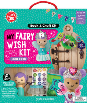 Kids will love greeting their tiny magical friends with this fairy welcoming kit. Complete with ten projects and special instructions on how to summon a visit from their favorite fairy while they're sleeping, this kit is essential to giving your child a boost of confidence. Whether they're looking for a tooth fairy to help them when they've lost a tooth or a brave fairy to give them courage when they're afraid, this kit will make all of their wishes come true. Kids can decorate a fairy door, dress up a special fairy doll, craft a wand, and more, to turn the experience into the perfect fairy tale. Includes: 28­page book 28­page book Wooden fairy doll Fairy door Mini fairy wand Fairy tutu Chenille trim Craft floss 2 garland stands Over 70 punch­out pieces Chenille pom­poms Sticky Dots Foiled jewel stickers