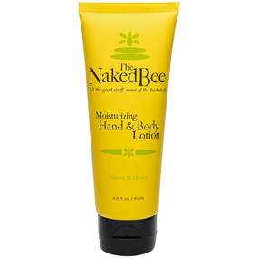 "Soothe and moisturize your skin with this 2.25-oz. travel tube of lotion scented with light citron and honey. Perfect for both hands and body, put this lightweight cream on after a shower or bath or before bedtime for relaxing and calming therapy that also hydrates. Enjoy all of the good stuff and none of the bad stuff with Naked Bee products. Naked Bee lotion in citron and honey fragrance. Hypoallergenic, PH balanced and non-comedogenic. Natural and paraben-free. No dyes or pigment. No propylene glycol or mineral oil. No lauryl or laureth sulfate. 2.25 oz. 1.25"" W X 2"" H X 5.5"" D"
