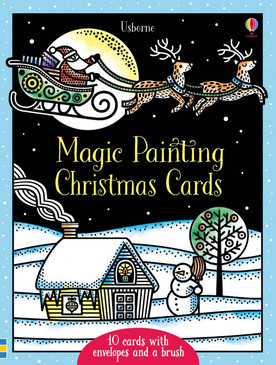 Brush water over the black and white illustrations and watch as the festive scenes magically burst into color. There are ten cards and two different designs A beautifully decorated Christmas tree and Santa flying over a village in his sleigh. The set also includes envelopes and a paint brush, so all you need is water.    Ages: 5 years and up  5 1/2 x 71/2 10 cards plus envelopes  Illustrated by: Zuzanna Bukala
