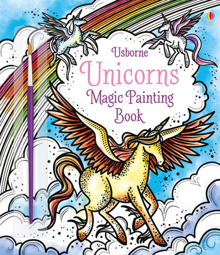 Explore the enchanting world of unicorns with this incredible magic painting book. Sweep carefully over the wonderful black and white patterns and drawings with the paintbrush provided, and watch the colors magically appear. With clear instruction on the front, this book couldn't be easier for children and adults to use.