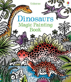 Brush water over the black and white illustrations and watch the prehistoric scenes burst into color! There are velociraptors hunting for food, pterodactyls flying high in the sky, baby dinosaurs being born, and much more. The back cover folds out so you can place it between the pages and prevent colors from running onto the page beneath. Age 5+ Size 8 1/2 x 9 3/4 Pages 16 Series Magic Painting Books Author Illustrated by Federica Iossa