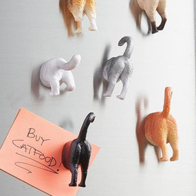 From the hand and mind of Steph Mantis comes these hilarious animal butt magnets. Plastic animal butts perfect for displaying everything.  Set of 6. Sizes vary but approximately 1 to 2 inches.
