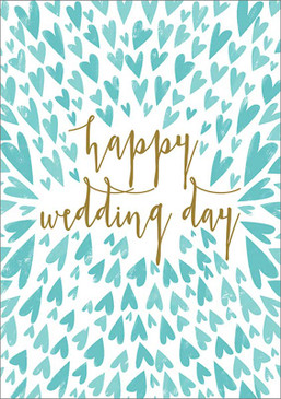 small blue hearts, wedding card