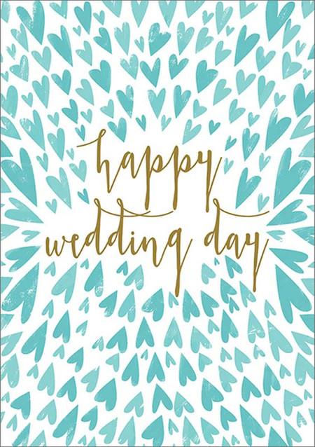 small blue hearts, wedding card
