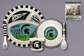 It's never too early to catch Spartan fever. Start the time honored tradition of tailgating with this adorable 5 piece MSU tailgatin' set. Go green and white!