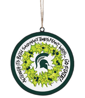 Show your spartan pride on your Christmas tree with this cute metal ornament