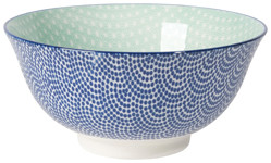 Eye-catching porcelain bowls with contrasting patterns are stunning, either as a collection or as accent pieces. Stamped designs have a wonderful texture and hints of color circling hand-painted rims.  Material: porcelain Size:  6.5 x H3 inch 22 oz