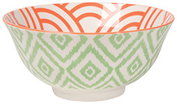 Eye-catching porcelain bowls with contrasting patterns are stunning, either as a collection or as accent pieces. Stamped designs have a wonderful texture and hints of color circling hand-painted rims.  Material: porcelain Size:  6.5 x H 3 inch 22 oz