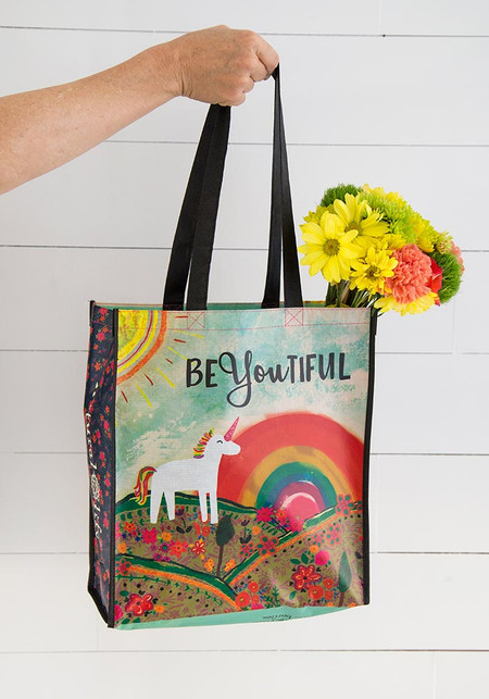 Reusable bag features nylon webbed handles. Sentiment: beYOUtiful