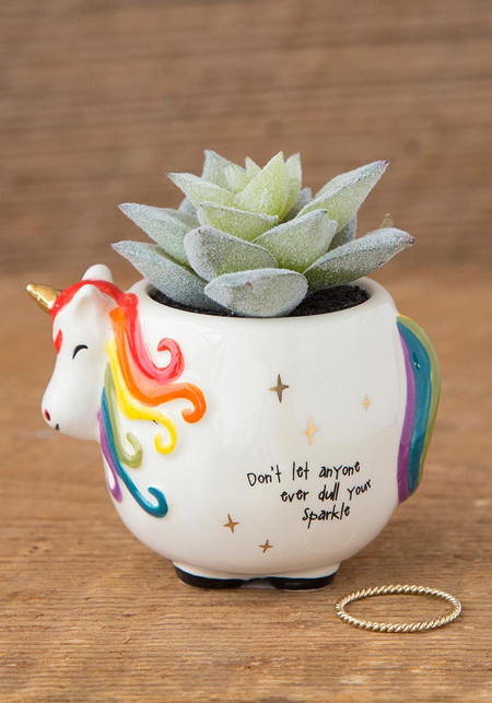Sentiment: Don't let anyone ever dull your sparkle Features hand painted and gold foil details. Each critter pot includes a faux succulent plant.