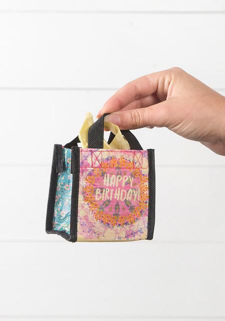 Sentiment: Happy Birthday Reusable bag features nylon webbed handles.