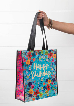 Happy Birthday bag, Reusable, nylon webbed handles, rPET, 80% recycled plastic water bottles, dimensions: 12.5 in L x 5 in W x 14 in H, 11 in handle drop
