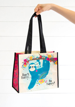 Sentiment: Don't hurry be happy Reusable bag features nylon webbed handles.