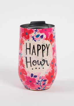 Sentiment: Happy Hour Double-wall, stainless steel tumbler features lid with rubber seal to keep drinks cold (or hot!) for up to 12 hours.