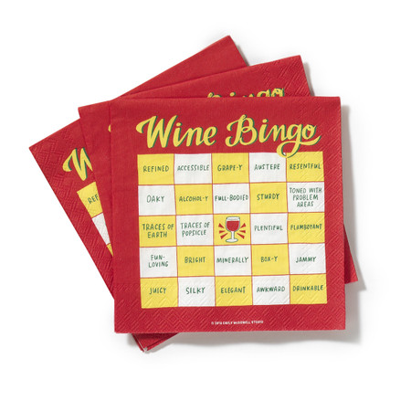 """What's better than playing bingo and having a glass of wine? Doing both! together!    Description:  5""""x5"""" 3 ply cocktail napkins printed in Germany on FSC certified tissue."""