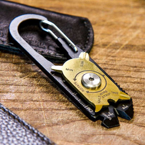 This patented carabiner tool simply attaches to your keychain or bag. The FIXR cleverly conceals within its real leather pouch 20 essential tools.