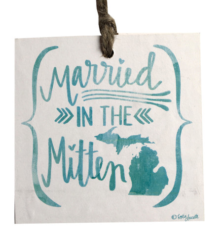Celebrate your wedding day with this handmade sign by Michigan artist, Katie Doucette