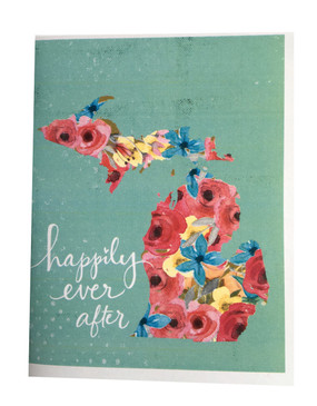 Celebrate a Michigan wedding with this pretty card by Michigan artist, Katie Doucette Size: 5.5x4.25 sleeved in cello Blank inside