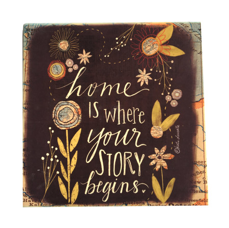 Display this sweet coaster in your own home or pick one up as a gift for a loved one.  Handmade by Michigan artist, Katie Doucette.
