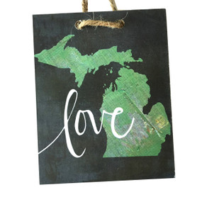 Celebrate your favorite state with an adorable hanging sign handmade by Michigan artist, Katie Doucette.