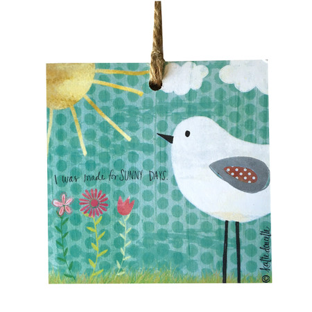 Celebrate sunshine with an adorable hanging sign handmade by Michigan artist, Katie Doucette. Size: 4x4