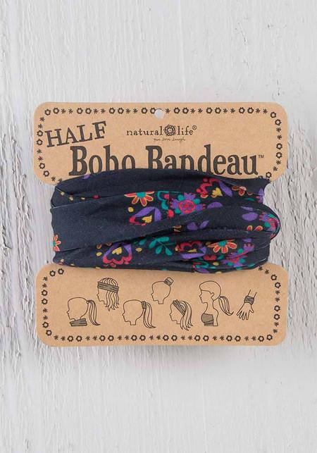 Soft & versatile black and turquoise floral half boho bandeau