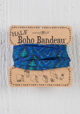 navy and green ikat half boho bandeau