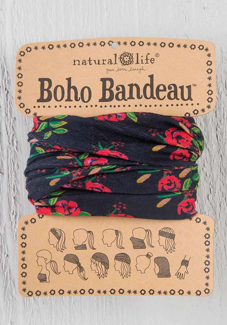 black blooms boho bandeau, 18in L x 10in W