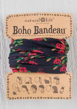 black blooms boho bandeau, 18in L x 10in W