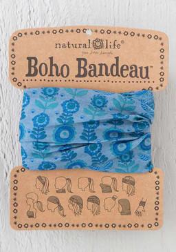 blue daisy boho bandeau, 18in L x 10in W